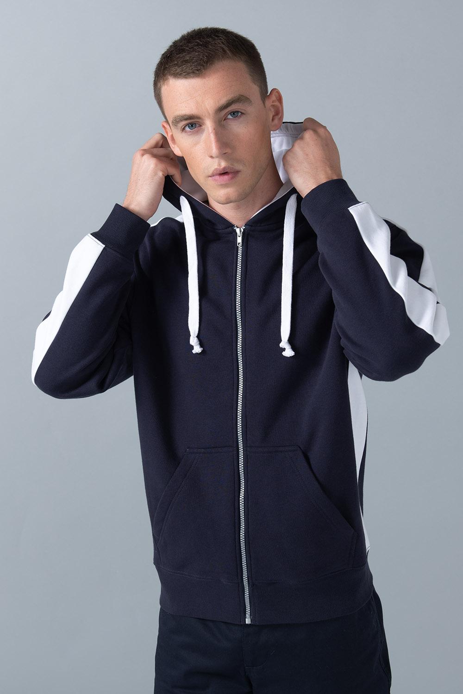 Finden /& Hales Contrast Sports Two Tone 1//4 Zip Sweatshirt Top 2 Colours